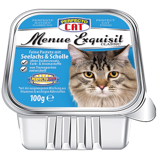 Perfecto Cat Menue Exquisit 100g - Treska a platýz